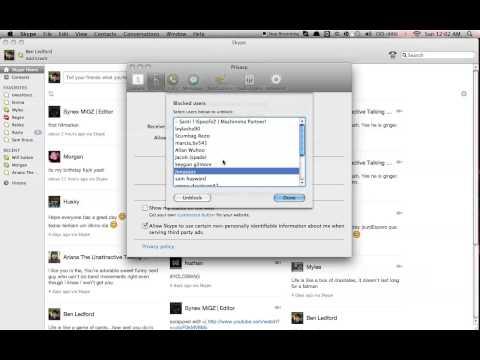 How to unblock people on Skype. (Mac) 2013
