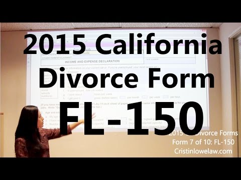 Filing California Divorce Forms: Form 7 of 10 the FL-150