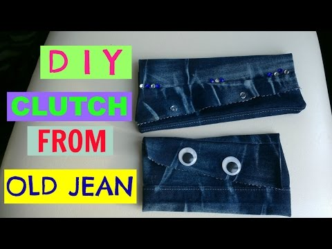 DIY clutch from old jean