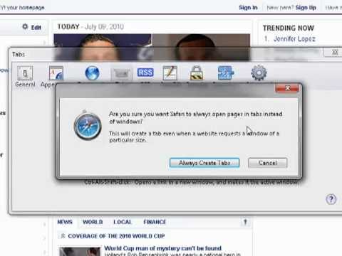 How to make Safari open all new pages in a tab