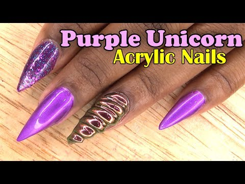 Purple Unicorn Acrylic Nails | Naio Nails Gel Polish | LongHairPrettyNails