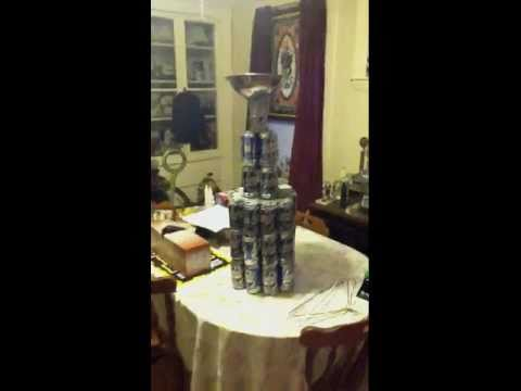 Stanley cup made out of beer cans
