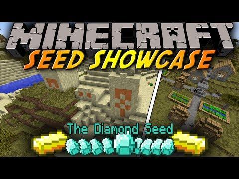 Minecraft: Seed Showcase 1.8 - 10 Diamonds in DESERT TEMPLE at SPAWN & Village in SAVANNA