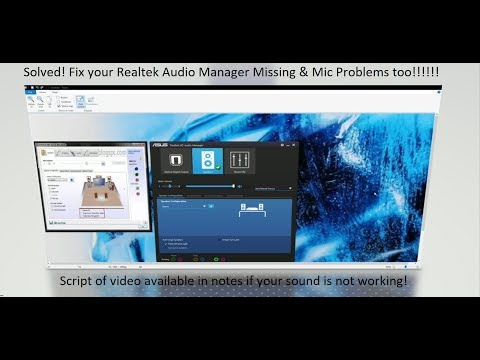 Solved! Realtek HD Audio Manager Missing - or Mic Problems - Here is the fix