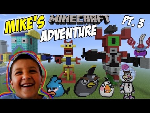 Mikes Minecraft Adventure Part 3: Angry Birds, Skylanders & Spongebob Statues (TRIPOD Version)