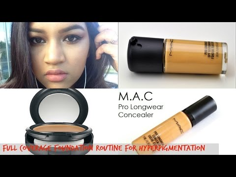 Mac prolong wear foundation NC45 full coverage foundation routine for blemishes/Scars