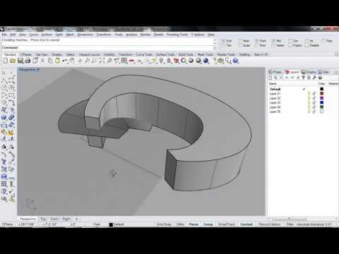 85 - Rhino - Carved Extruded Object   Lofted Spiral Curve