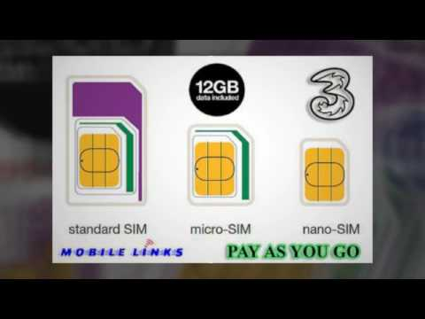 Three(3) Pre-loaded Data SIM Card Pay-As-You-Go For Mobile Broadband at Mobile Links E13 8HJ