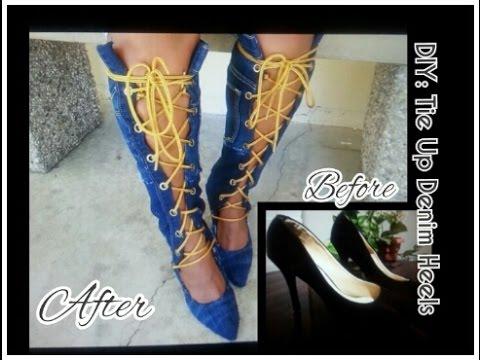 DIY: Knee High/Tie Up Denim Boots w/Heels 💕