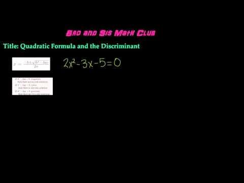 What is Quadratic Formula and the Discriminant - Algebra I