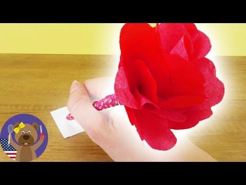DIY ROSE PEN - Cool Pencil with Paper Flower - Easy Springtime DIY