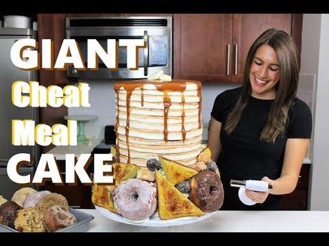 Big Meets Bigger Challenge: Sponsored Giant Breakfast Cheat Meal Cake | CHELSWEETS