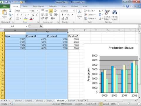 Change the Width of Columns by Using the Mouse - Excel 2010