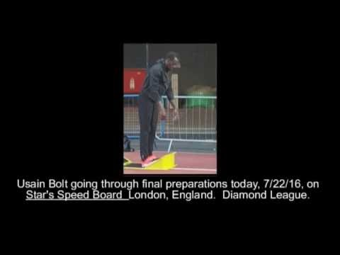 Usain Bolt on Star's Speed Board before 200m.  Diamond League 7 22 16