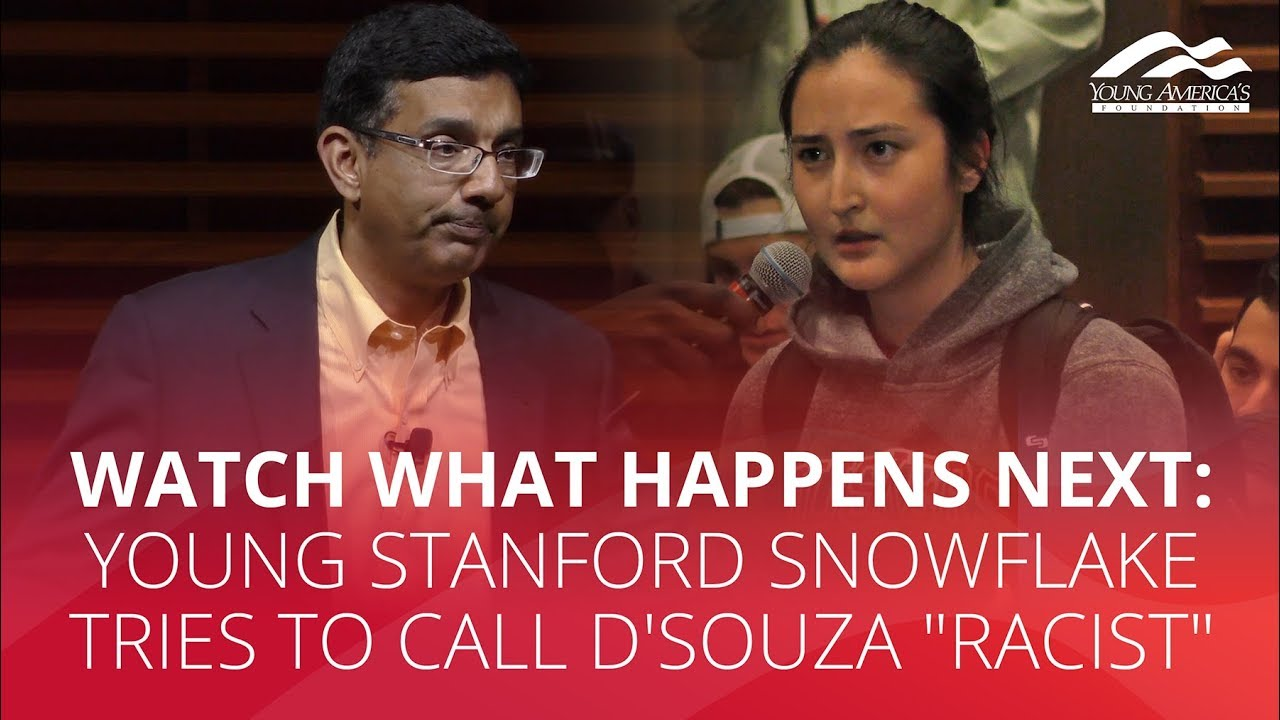 """WATCH WHAT HAPPENS NEXT: Young Stanford snowflake tries to call D'Souza """"racist"""""""