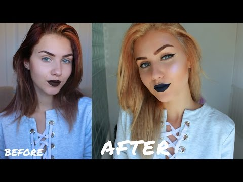 Bleaching my Hair at Home | From Burgundy to Golden Blonde | Stella