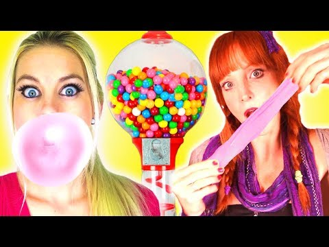 We Make Bubble Gum!!!  Easy DIY How To Make Gumballs & Awesome School Hacks!