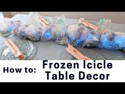 How To Frozen Icicle Table Decor and Centerpiece Runner by A Sparkly Life for Me