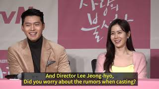 [ENG] Hyun Bin❤ Son Ye Jin talk about their chemistry in 'Crash Landing on You' Press conference