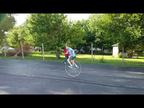 Braedon riding a 36 inch Big Wheel Unicycle