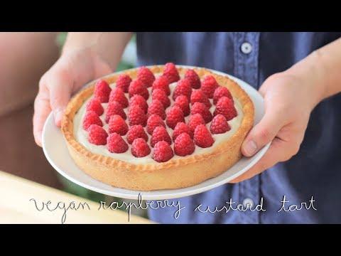 Vegan Raspberry Custard Tart   Tartaleta vegana de frambuesas