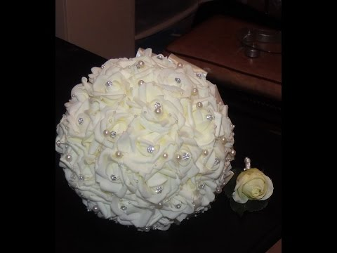 #1 DIY How to Make Your Bridal Bouquet Wedding Brooch Bouquet Real Touch Foam Roses Part 2
