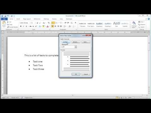 Microsoft Word 2010 - Bullet Points