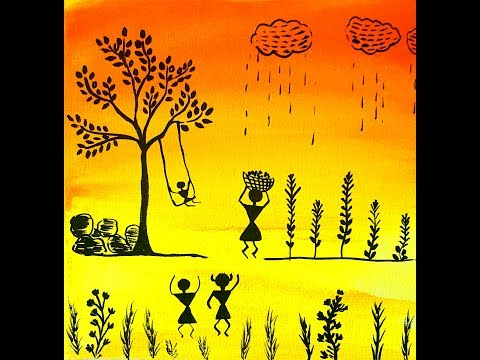 Warli Farm Scene on canvas for beginners  |Getting started