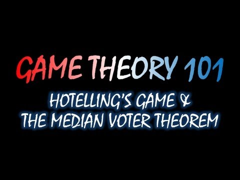 Game Theory 101 MOOC (#40): Hotelling's Game and the Median Voter Theorem