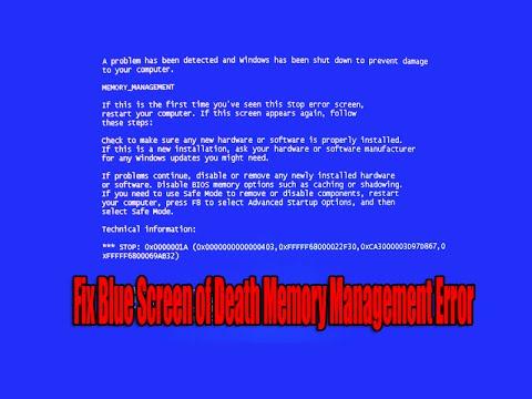 Fix Blue Screen of Death Memory Management Error