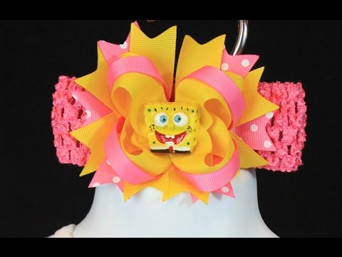 How to make an easy boutique style bow tutorial (updated) spongebob bow