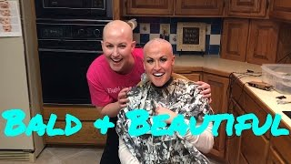 BALD BREAST CANCER PATIENT SHAVES SISTER