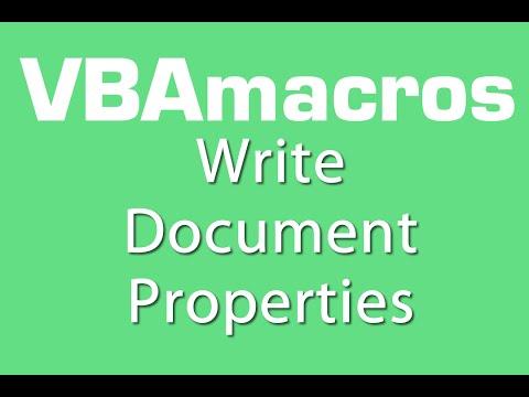 Write Document Properties - VBA Macros - Tutorial - MS Excel 2007, 2010, 2013