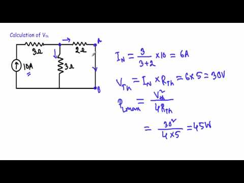 Maximum Power Transfer Theorem Solved : Example 1 (w subtitles)