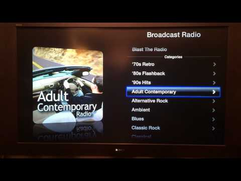 How to access radio stations using iTunes radio on Apple TV.  A tutorial from www.BlastTheRadio.com