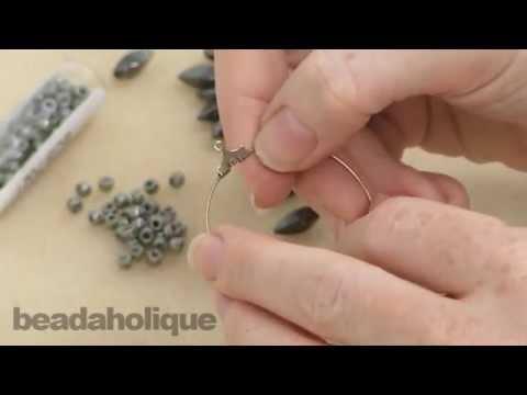 How to Make a Pair of Earrings with Beading Hoop Earring Findings