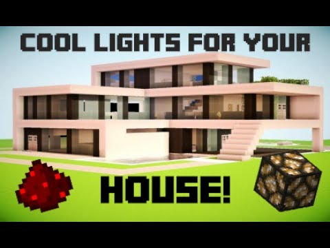 Minecraft - How to make redstone lights for your house! [Turns on and off]