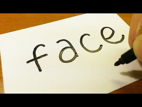 Very Easy ! How to turn words FACE into a Cartoon for kids -  How to draw doodle art on paper