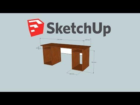 Simple modern plywood computer desk-Google SketchUp Make