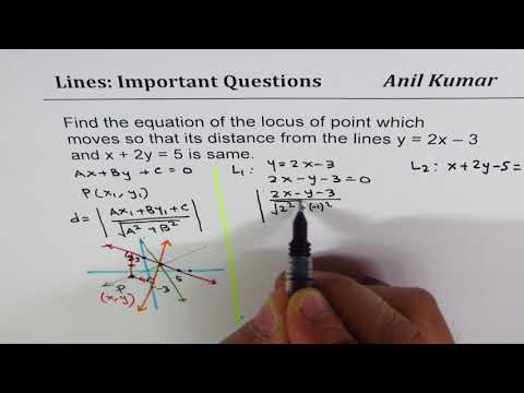 Equation of locus of points equidistant from a pair of intersecting lines