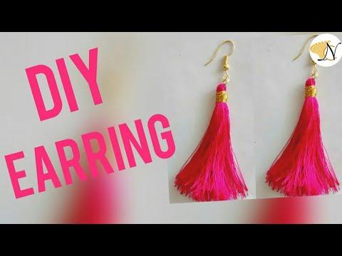 Super Easy String Tassel Earrings DIY