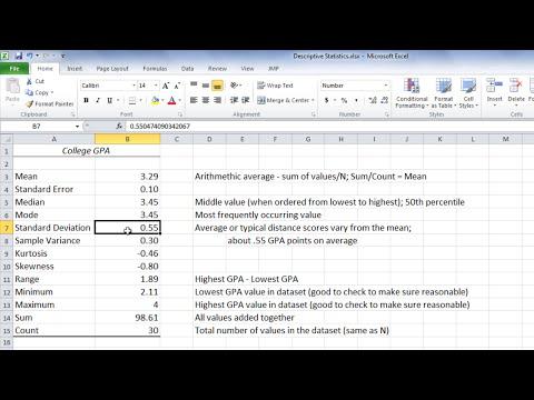 Statistics in Excel - Mean (Average), Median, Mode, and Standard Deviation