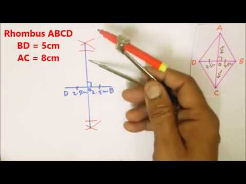 Construction of Quadrilaterals (Part-5) Rhombus with Two diagonals