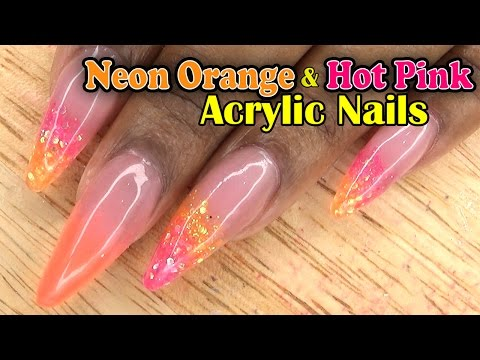 Neon Orange & Hot Pink Glitter Nails | Acrylic Nails | LongHairPrettyNails