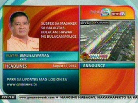 DB: Suspek sa masaker sa Balagatas, Bulacan, hawak ng Bulacan Police
