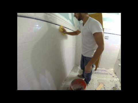 Grouting Subway Tile Bathroom - Time Lapse