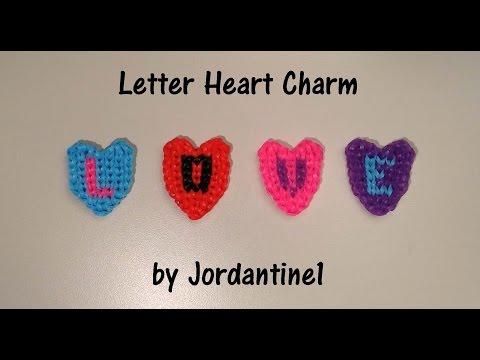 New Alphapbet Letter Heart Charm - Alpha / Rainbow Loom - Valentine's Day