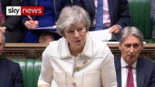 Theresa May is addressing the Commons on the Brexit backstop