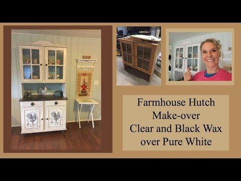 Black Wax and Clear Wax on Pure White Chalk Painted Farmhouse Hutch