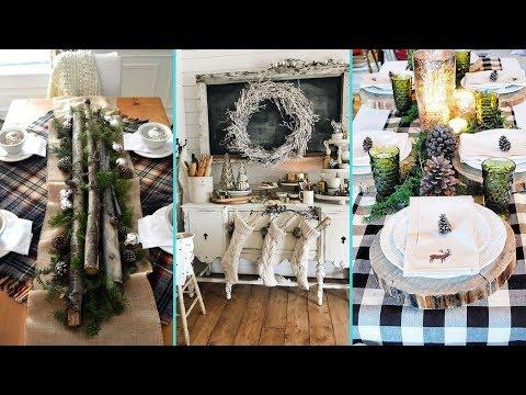 ❤DIY Shabby chic style Rustic Christmas Dining Table decor Ideas❤|Dining room decor| Flamingo Mango|